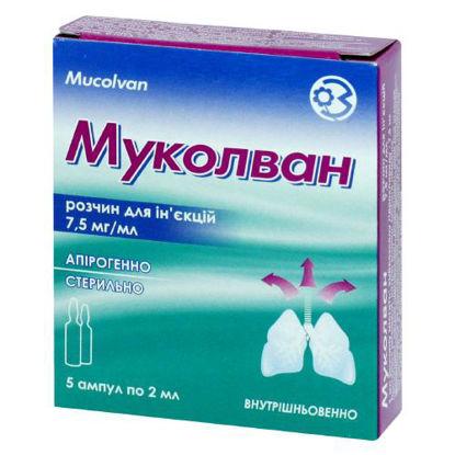 Фото Муколван раствор для инъекции 75 мг/мл ампула 2 мл №5